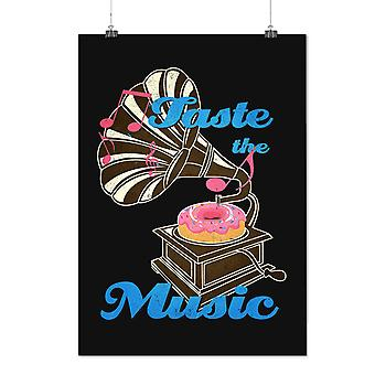 Matte or Glossy Poster with Taste Funny Donut Music | Wellcoda | *d2344