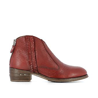 MoMA women's 32702546PECARYROSSORED red leather ankle boots