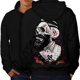 Skull Hippie Beard Men BlackHoodie Back | Wellcoda