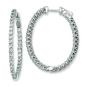 Sterling Silver Polished Prong set Hinged hoop Safety clasp Rhodium-plated Rhodium Plated With Cubic Zirconia Hinged Ova