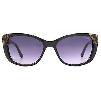 Guess Leopard Print Detail Sunglasses In Black