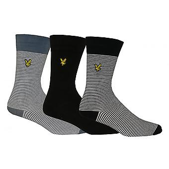 Lyle & Scott 3-Pack Coloured Textured Socks, Red/Navy/Black