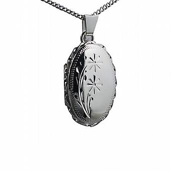 Silver 23x16mm engraved flower design twisted wire edge oval Locket with a curb Chain 18 inches