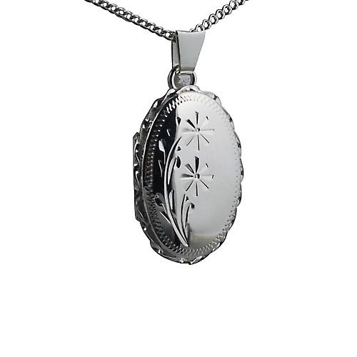 Silver 23x16mm engraved twisted wire edge oval Locket with Curb chain