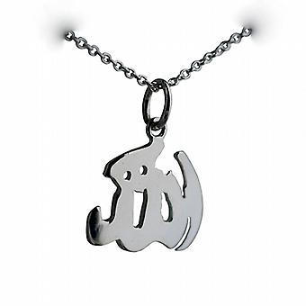 Silver 14x16mm Allah written in Arabic script Pendant with a rolo Chain 14 inches Only Suitable for Children