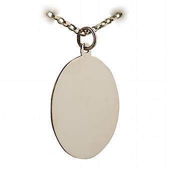 9ct Gold 26x21mm plain oval Disc with a belcher Chain 16 inches Only Suitable for Children