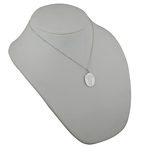 Silver 25x20mm oval medical alarm Disc with a curb Chain 18 inches