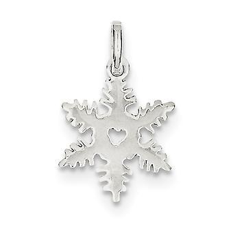 Prata esterlina sólida polido floco de neve charme - 1,0 gramas