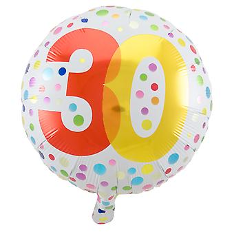 Foil balloon birthday number 30 rainbow dots about 45 cm