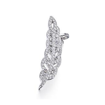 Loops ring ears feather Crystal Swarovski Elements white and Rhodium plate