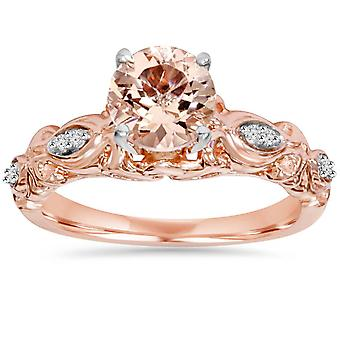 1 k Morganite & Diamond Vintage ringen 14K Rose gull