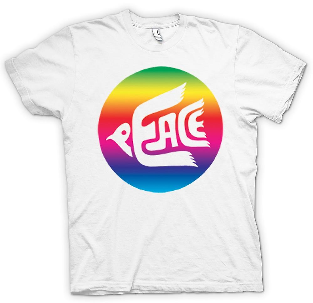 Mens T-shirt-Frieden-Rainbow-Dove-Logo