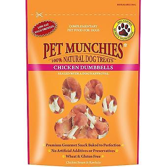 Pet Munchies naturlige hund behandler kylling håndvægte 80g (Pack af 8)