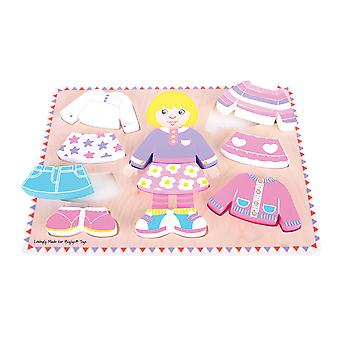 Bigjigs Toys Dressing Girl Puzzle - Wooden Dress-Up Jigsaw