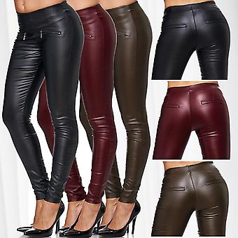 Ladies Biker Leather Jeggings Treggings Slim Leather Trousers Pants Stretch Skinny Tubes