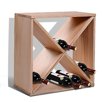 HOMCOM Wooden Wine Rack for 24 Bottle Square Tabletop Storage Holder Stand