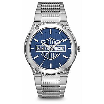 Harley Davidson Logo Print Blue Dial Stainless Steel Bracelet 76A159 Watch