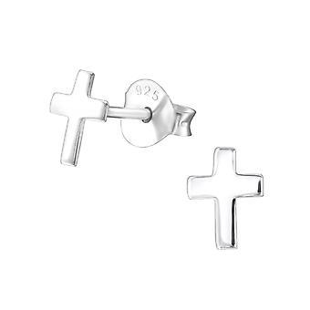 Cross - 925 Sterling Silver Plain Ear Studs - W23489X
