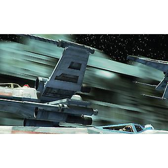 Vinyl Wall Smashed 3D Art Stickers of Illustrated X-Wing Poster Bedroom Boys Girls