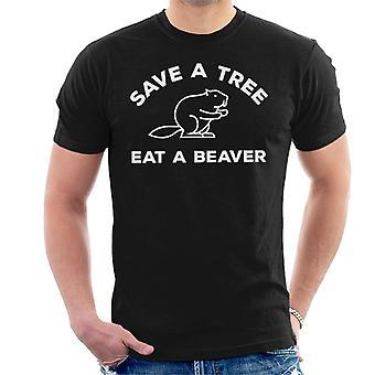 Lagre et tre spise bever menns t-skjorte