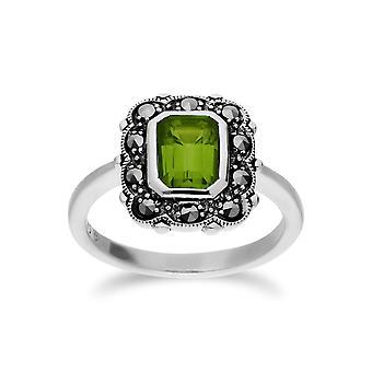 Gemondo Sterling Silver Peridot & Marcasite Octagon Art Nouveau Ring