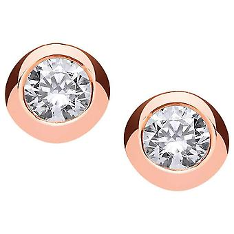 Cavendish French 1 Carat Open Back Solitaire Earrings - Rose Gold