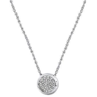 IBB London Cubic Zirconia Disc Adjustable Chain Necklace - Silver