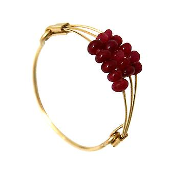 Gemshine - women's - ring - gold plated - Ruby - Red