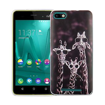 Mobile case for WIKO Lenny 3 cover case protective bag motif slim silicone TPU 3 giraffes