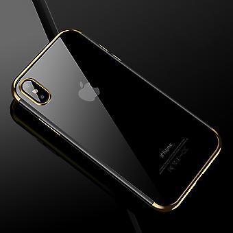 Handy Hülle Schutz Case für Apple iPhone X Durchsichtig Transparent Gold