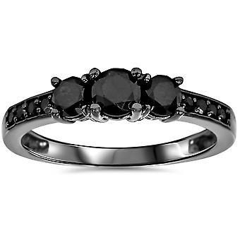 1 1/5ct Heat Treated Black Diamond 3 Stone Ring 10K Black Gold