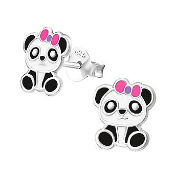 Panda With Bow - 925 Sterling Silver Colourful Ear Studs - W19638x
