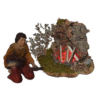 Campfire with Shepherd for Nativity stable Nativity accessories
