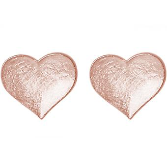 Ladies heart earrings 925 Silver rose gold plated earrings 1.3 cm