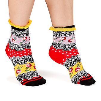 Rose & Lace women's crazy floral crew socks in red | By Fil de Jour