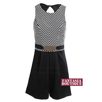 New Ladies Sleeveless Belted Black White Stripe Women's Skater Playsuit
