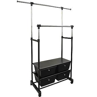 Store - Fully Adjustable Double Wardrobe / Hanging Clothes Rail With Drawers - Black / Silver