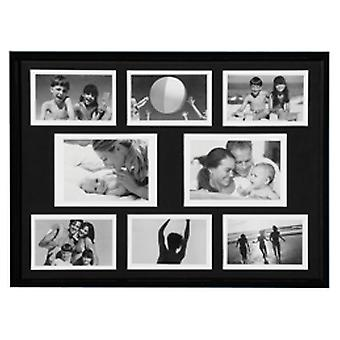 Collage - Wall Mounted Photo Frame - With Eight Apertures - Black