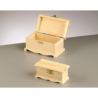 2 Wood Ornate Chests with Clasp Set 16x9x8.5cm & 12x5.5x6cm Wide