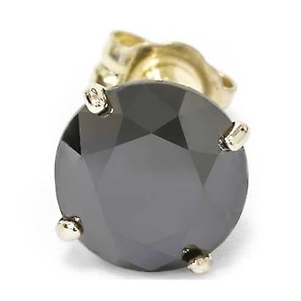 2ct Black Diamond Single Stud 14K Yellow Gold
