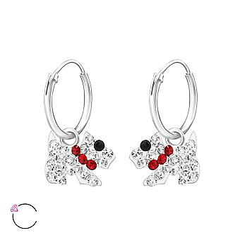 Dog - 925 Sterling Silver Hoops - W32880x