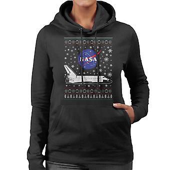 NASA Logo And Shuttle Christmas Knit Pattern Women's Hooded Sweatshirt