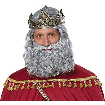 Biblical King Moses Wise Man Christmas Easter Mens Costume Wig Moustache Beard