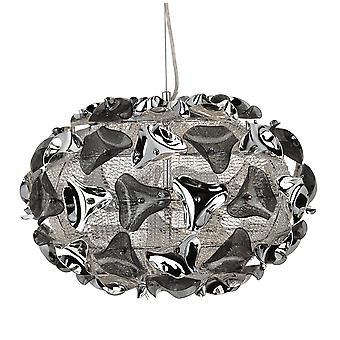 Searchlight Triangle Large Chrome Aluminium And Smoked Acrylic Pendant