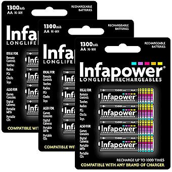 12 x Infapower B003 Rechargeable AA Ni-MH Batteries 1300mAh