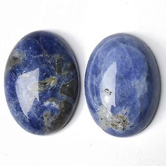 Packet 2 x Blue Sodalite Flat Back 13 x 18mm Oval 5.5mm Thick Cabochon CA16649-4
