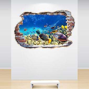 Полноцветный тропические рыбы разбили стены стикер стены 3D-эффект