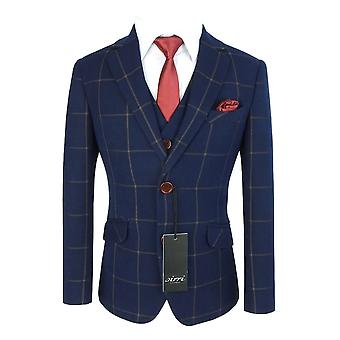 Boys Exclusive Woven Effect Navy Brown Check Suit