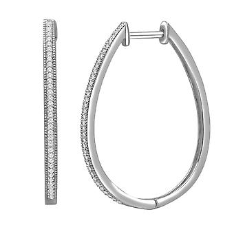 IGI Certified Natural 10k White Gold 0.25 Ct Round Cut Diamond Hoop Earrings