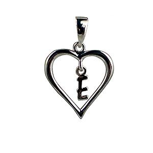 sterling Silver heart with a hanging Initial E